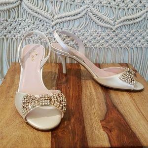 Kate Spade White Satin Crystal Bow Miva Sandal